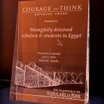 Egypt's wrongfully detained scholars and students honored with 2016 Courage to Think Defender Award