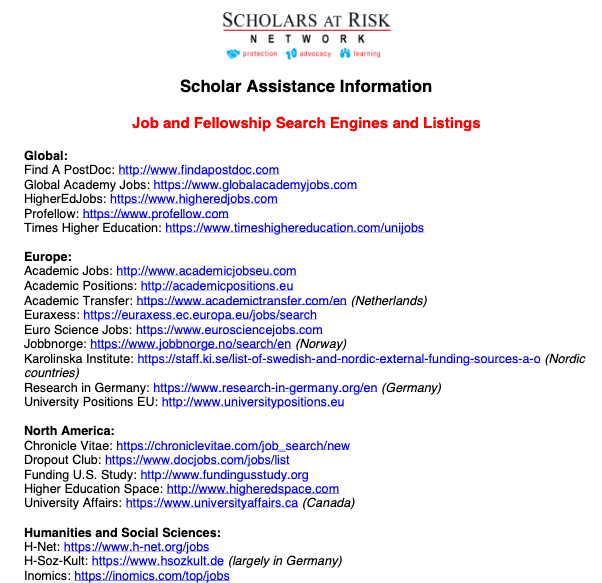 Scholar Assistance Information