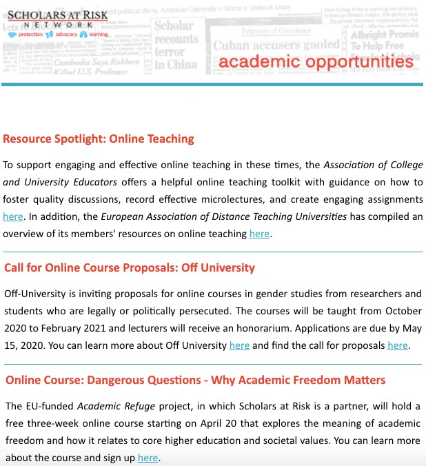Academic Opportunities Screenshot