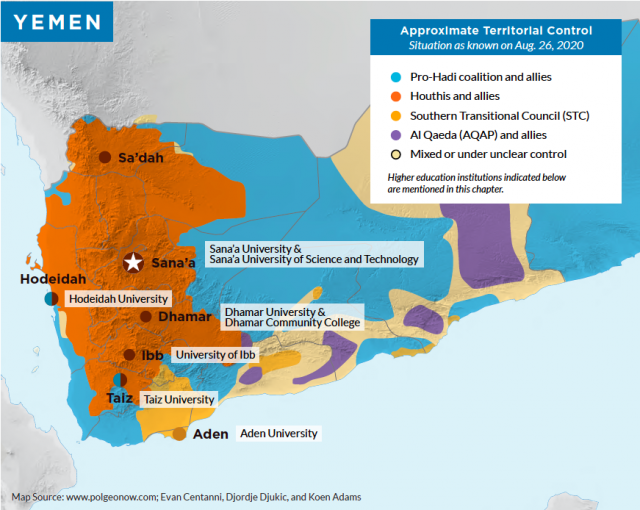 Map indicating approximate territorial control of Yemen as of August 26, 2020.